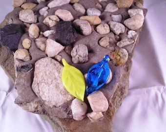 Blue and Yellow Glass Leaves
