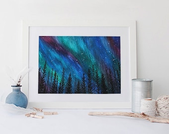 Matted Northern Lights Black Spruce 8x10 Giclee Print