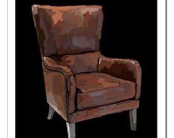 Wingback Chair Illustration-Pop Art Print