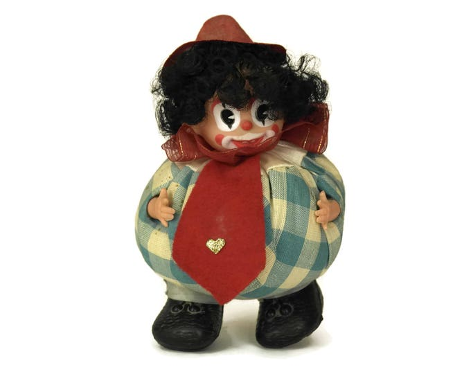 Clown Head Pincushion Doll. Vintage Handmade Collectible Craft Room Decor. Gifts For Her.
