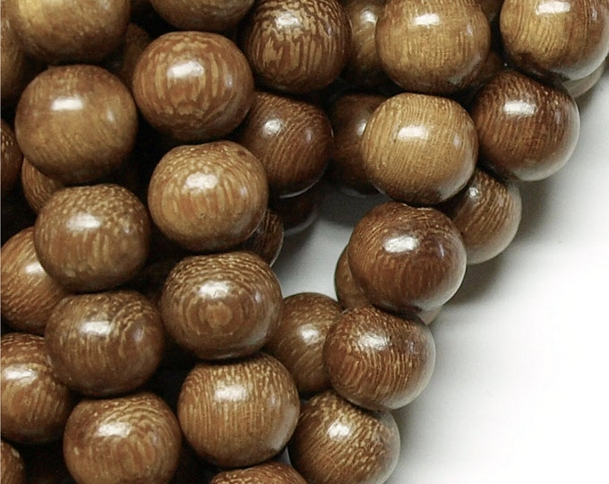 Wood Bead, Round 15mm, Robles - 8 Inch Strand (WDRD-15RB)