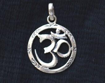 Silver om pendant etsy sterling silver om pendant 925 sterling silver jewelry handmade jewelry silver pendant sku aloadofball Images