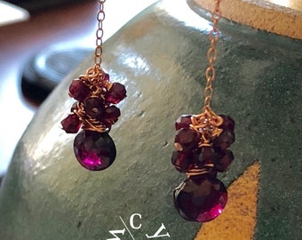 Garnet Cluster Earrings, Rosegold-filled and Garnet Earrings, Cluster of Garnet Earrings, Earrings Garnet, Gift for Her