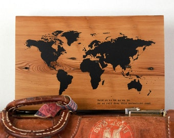 CUSTOM World Map with your chose of quote on reclaimed wood with Pins | Wedding Gift | Anniversary Gift | Wanderlust | Travel