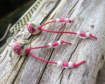 Pink Earrings, Flower Earrings, Feminine Earrings, Minimalist Earrings, Long Earrings Tribal Earrings Boho Earrings Mothers Day Gift For Mom