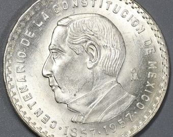 1957 Mexico Silver 5 Pesos Juarez 100th Anniversary Constitution Commemorative 200K minted Coin (18050207RE)