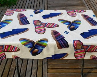 coated blue sneakers from the Basque country for rectangular bar table tablecloth 100cm X 140 cm