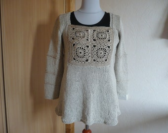 Tunic made of linen and cotton knitted woman