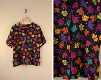 Colorful Vintage Blouse / Oversized Large XL Slouchy / Patterned Floral Polka Dot Print / Black Purple Yellow / Hipster Weird Boho Festival