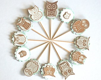 Music Note Owls - Cupcake Toppers