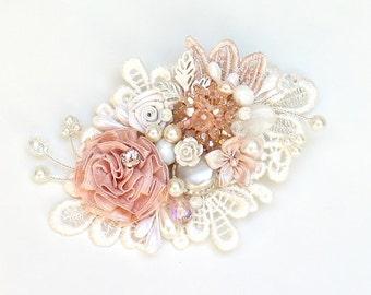 Bridal Hair Comb- Pink Bridal Hairpiece- Bridal Hair Accessories- Blush Hair Comb- Pink Hair Accessory- Pink Bridal Comb- Wedding Hairpiece