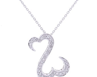 Diamond Heart Necklace, 0.16ct, 14K Gold (14N426)