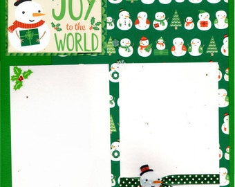 Joy to the World - Snowmen / Snowladies  - Christmas  Layout  2 Page Scrapbooking Kit