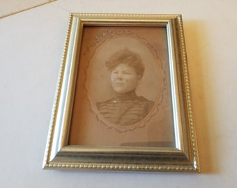 Instant aunt, vintage cabinet photo, frame with glass