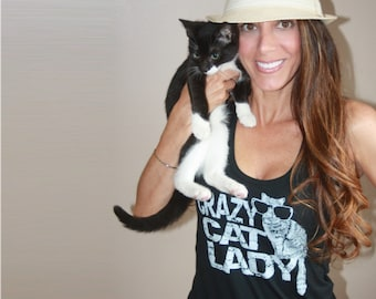 Cat shirt, workout tank, crazy cat lady, funny, cat shirts for women, cat lady, animal rescue, for her, summer fashion, gift for girlfriend