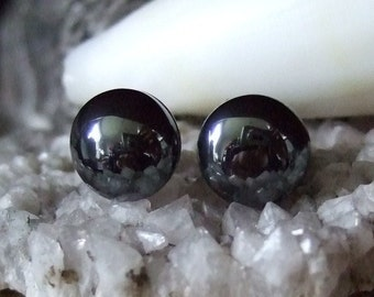Shiny 10mm Hematite Stud Earings Earrings Titanium Post and Clutch Hypo Allergenic Handmade in Newfoundland Yang Alaska Black Diamond