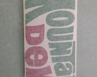 Mountain Dew vinyl sticker in red & green