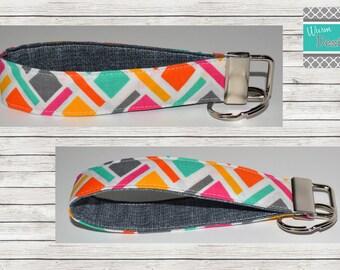 Geometric Pink/Yellow/Mint/Orange/Grey, Multi color, Keychain, Key Fob, Wristlet Keychain, Wristlet Key Fob