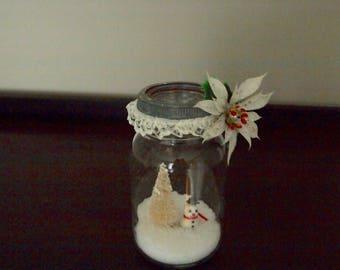 Vintage mason jar snow globe
