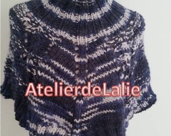 Cape, wrap, neck hand knit shades of blue