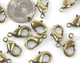Lobster Clasp, Lobster Closures, 15mm, TierraCast Clasps, Jewelry Findings,  15 mm Clasps, Antiqued Solid Brass,10 Pieces, 1127