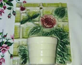 Vintage Rose Trellis Wall Pocket Planter; Vintage Wall Pocket, Vintage Wall Planter, Vintage Wall Vase, Rose Trellis Design, Roses Planter