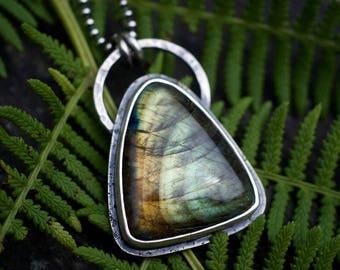 Labradorite pendant, Labradorite necklace, Green Labradorite, Rustic Necklace, Sterling pendant, Labradorite