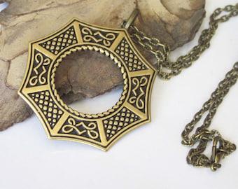 Celtic Pendant Necklace, Gold and Black Brass Necklace, Metal Pendant, Unisex Jewelry, Mens Celtic Medallion