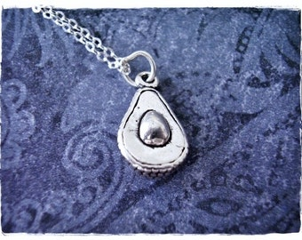 Silver Avocado Necklace - Sterling Silver Avocado Charm on a Sterling Silver Cable Chain or Charm Only