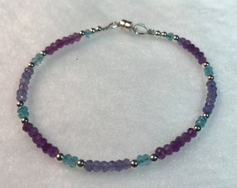 Delicate 3.5mm Tanzanite, Amethyst, Blue Topaz, Sterling Silver magnetic clasp bracelet
