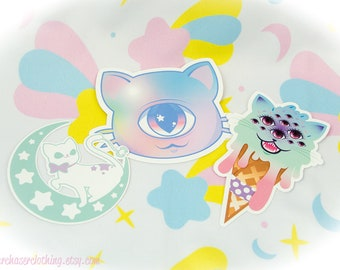 Good Mews Large Cat Vinyl Pastel Sticker Pack Fairy Kei Pastel Goth Creepy Cute