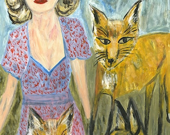Miriam and the foxes. Limited edition print of an original oil painting by Vivienne Strauss.