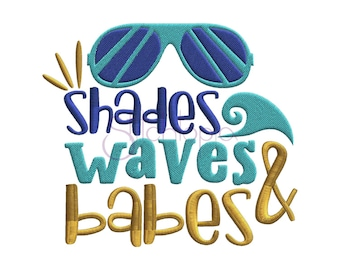 Shades Waves & Babes Embroidery Design - 6 Sizes 10 Formats Beach Machine Embroidery Designs Vacation Embroidery Designs - Instant Download