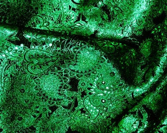 "Leather 12""x12"" Paisley Love EMERALD GREEN METALLIC / Black Soft Cowhide Leather 3-3.5oz /1.2-1.4 mm PeggySueAlso™ E3110-16"