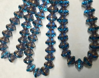 25 Capri Blue Czech Glass Saturn Saucer Beads with Brass Color Finish 8x10mm