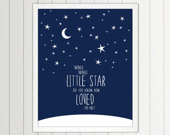 Twinkle Twinkle Little Star Do You Know How Loved You Are - print - Nursery, Playroom, Stars, Moon, Art, Lyrics, Song