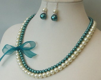 ON SALE BRIDESmaid GIFT Ivory & Teal Two Strand Pearl Bridal Wedding Maid Of Honor Mother Of Bride Necklace Set By DYEnamite