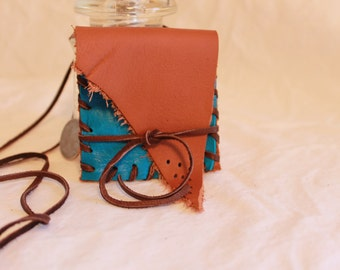 Handsewn Deerskin LEATHER Pouch Necklace