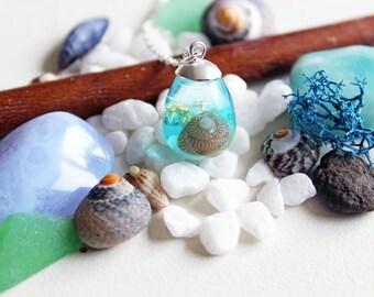 Water blue resin pendant water drop