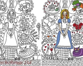 Cross Stitch Pattern, 'Color In Cross Stitch', Alice in Wonderland, Heather Galler, PDF Pattern, Chart, Counted Cross Stitch, Digital PDF,