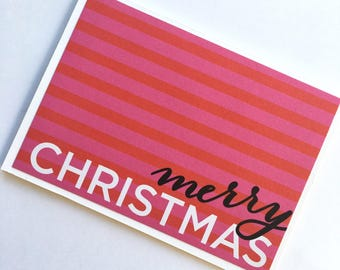 Pink and Red Merry Christmas Card **Ready To Ship**