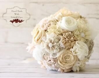 Ivory bouquet, fabric bridal bouquet
