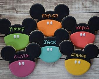Mickey Mouse Cookies, Minnie Mouse Cookies, Disney Cookies, Mickey Favors, Birthday Cookies