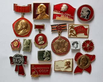 Soviet vintage pin Lenin badge Propaganda pins vintage Set of 18 collectible Lenin pin Red pin 100 years old birthday gift for politician