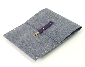 MacBook Pro 15 manches affaire mallette de feutre synthétique gris couverture avec bracelet de cuir violet à la main par SleeWay