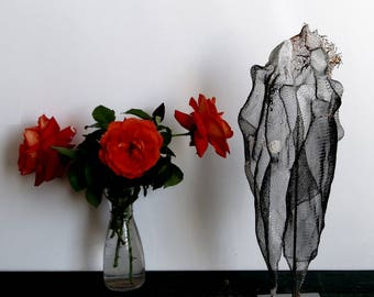 SOULMATES boyfriend gift Soul Mate Couple / Lady and Gentleman mesh sculpture / Anniversary / Valentine / Wedding gift / Shelf Decor OOAK
