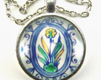 DAFFODIL FLOWER Spanish Tile Necklace -- Yellow and green, Friendship token