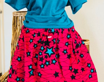 African Romp Skirt - A Line - Elastic waist - pink stars - with pockets