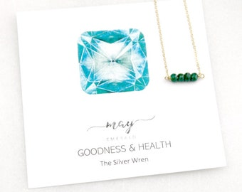 Necklaces for Women, Birthday Gifts, Gifts Women, May Birthday, May Birthstone, Emerald, The Silver Wren, Birthstone Necklace, Gift for Her