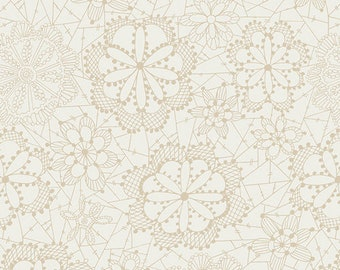 Lace in Bloom Cloud Fabric - Fleet and Flourish Collection - lace - floral
